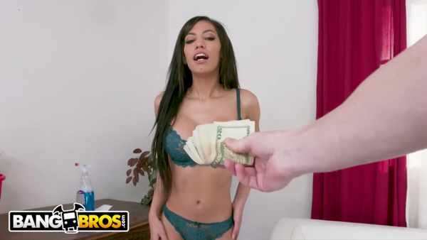 BANGBROS - Tiny Latin Maid Shay Evans Cleans My Cock And Rides It!